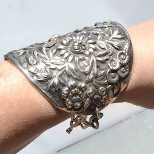 Floral Antique Wide Cuff Bracelet Sterling Silver